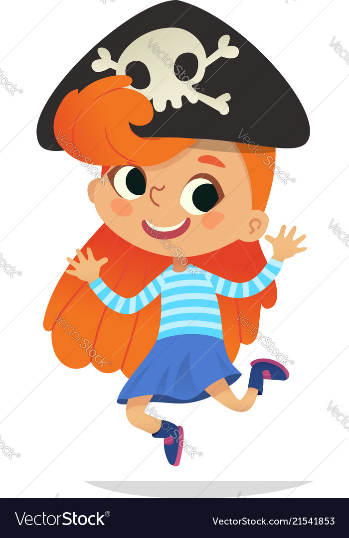 Redhead wearing cocked hat with skull dancing