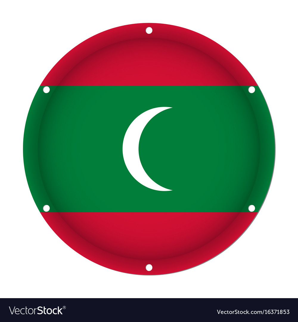 Round Metallic Flag Of Maldives With Screw Holes