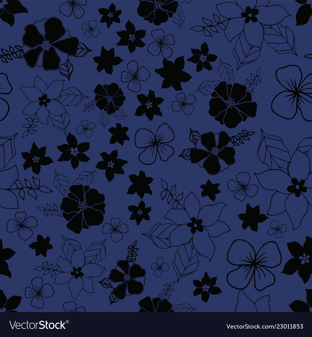 Seamless Repeat Floral Pattern On Navy Background Vector Image
