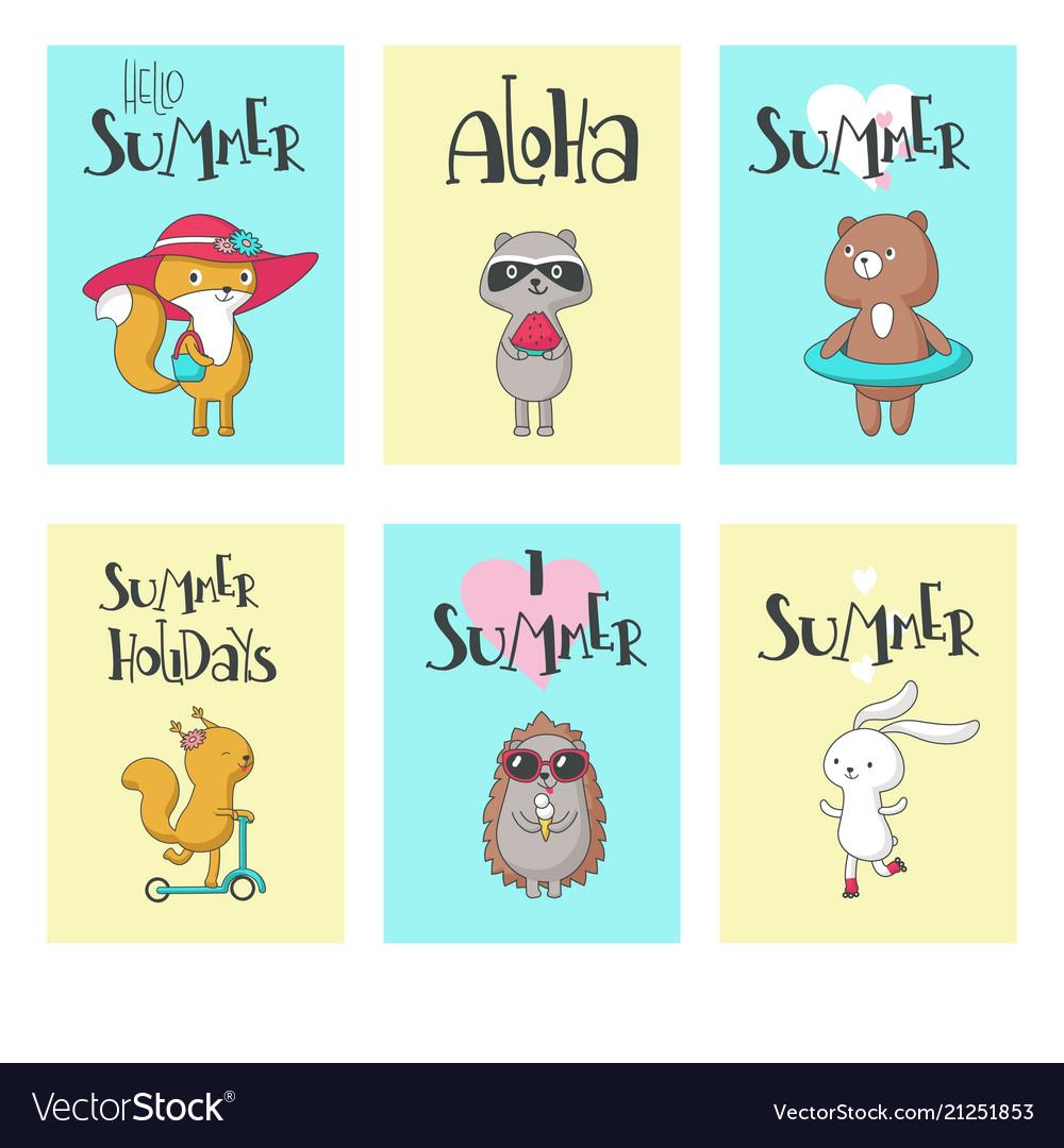 Summer animal cards hand drawn