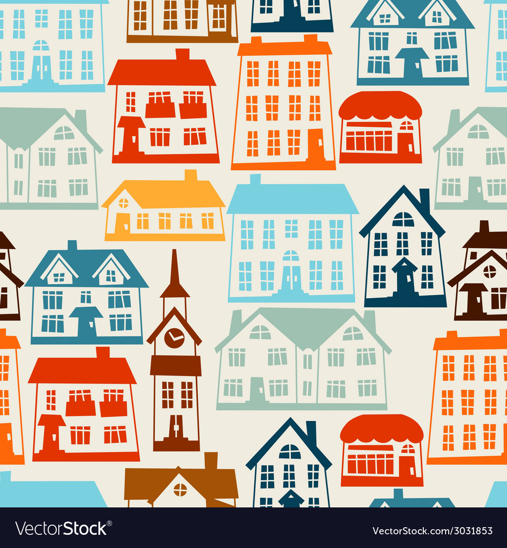 Town seamless pattern with cute colorful houses vector image