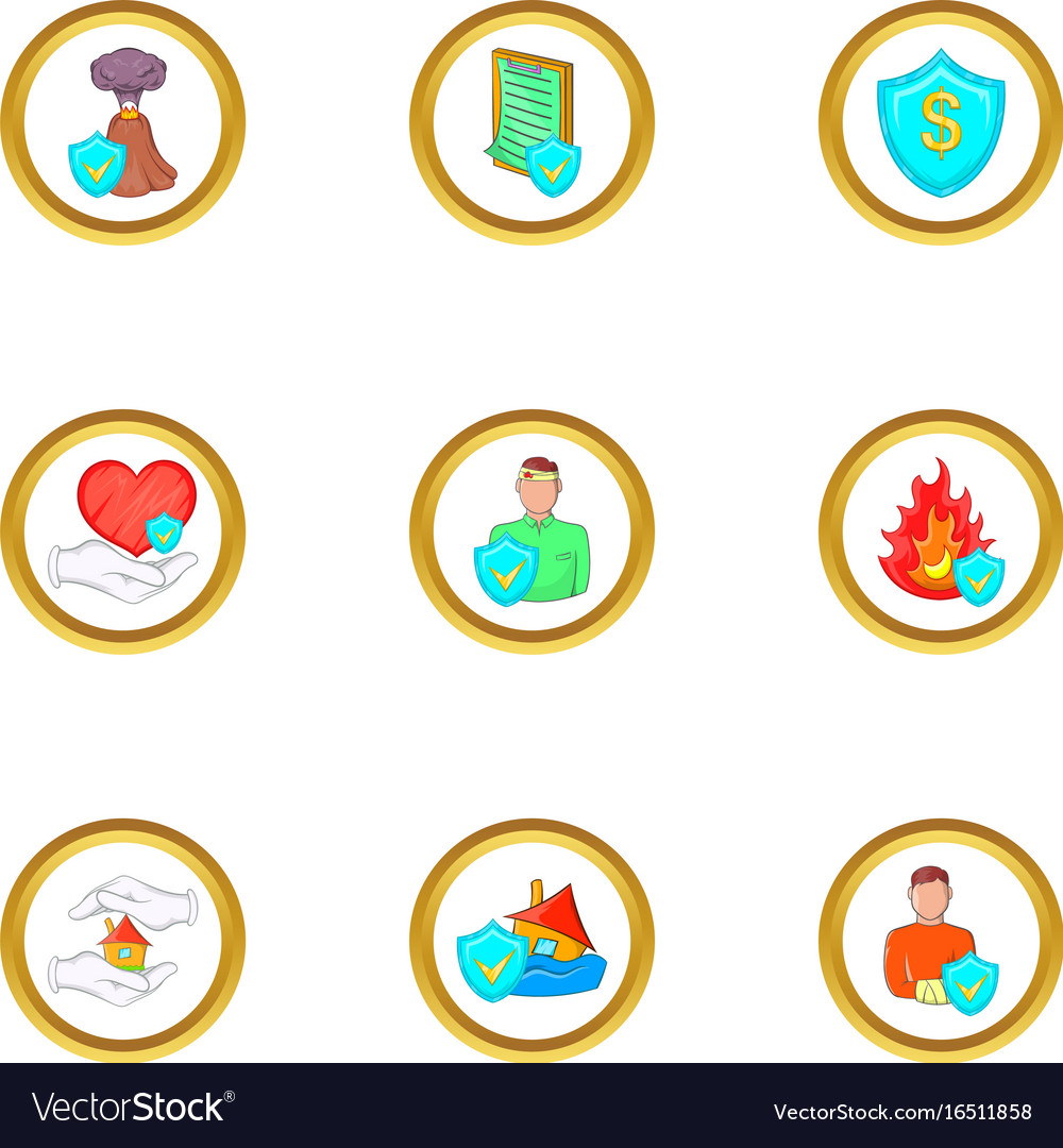 Cataclysms insurance icon set cartoon style