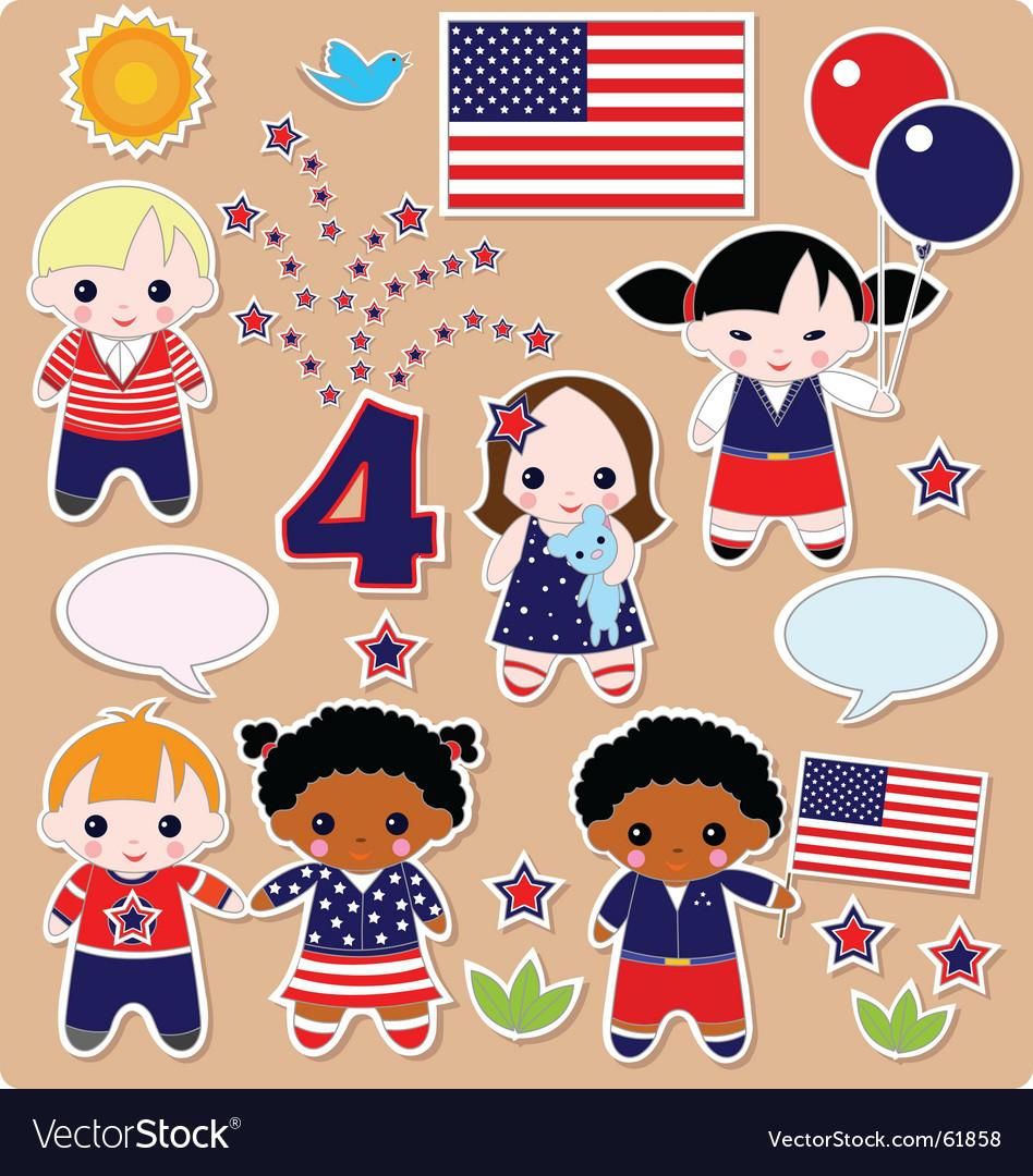 Children set fourth of July