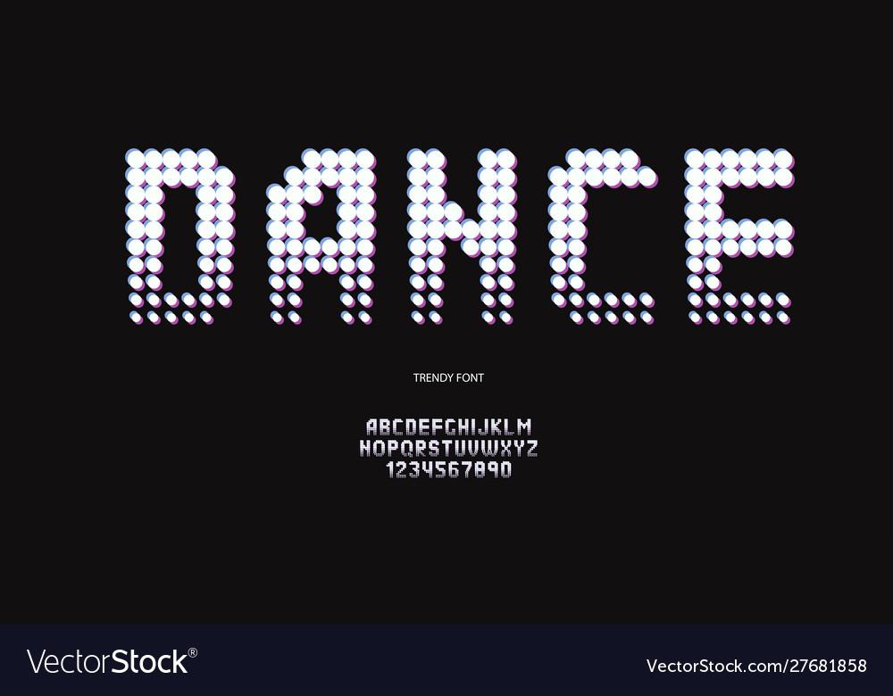 Dance font neon style