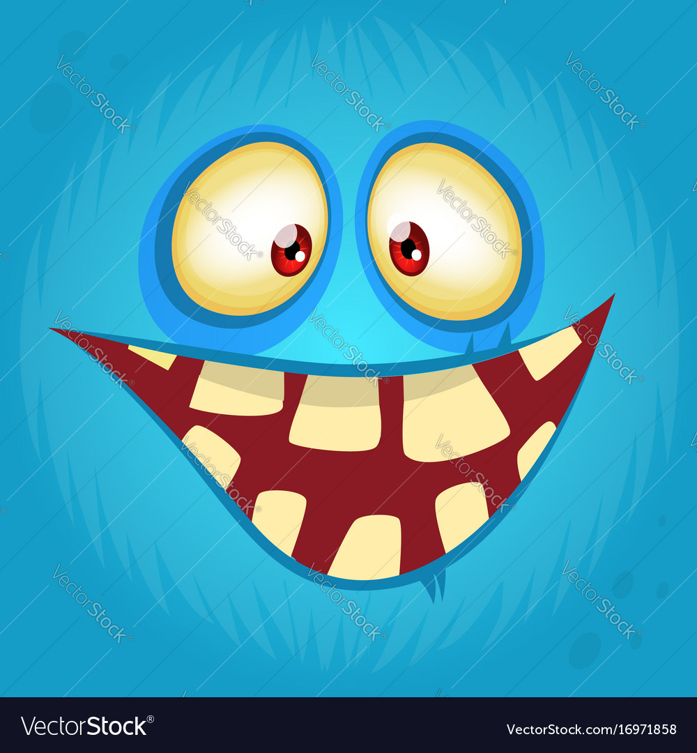 Funny smiling cartoon monster face avatar vector image
