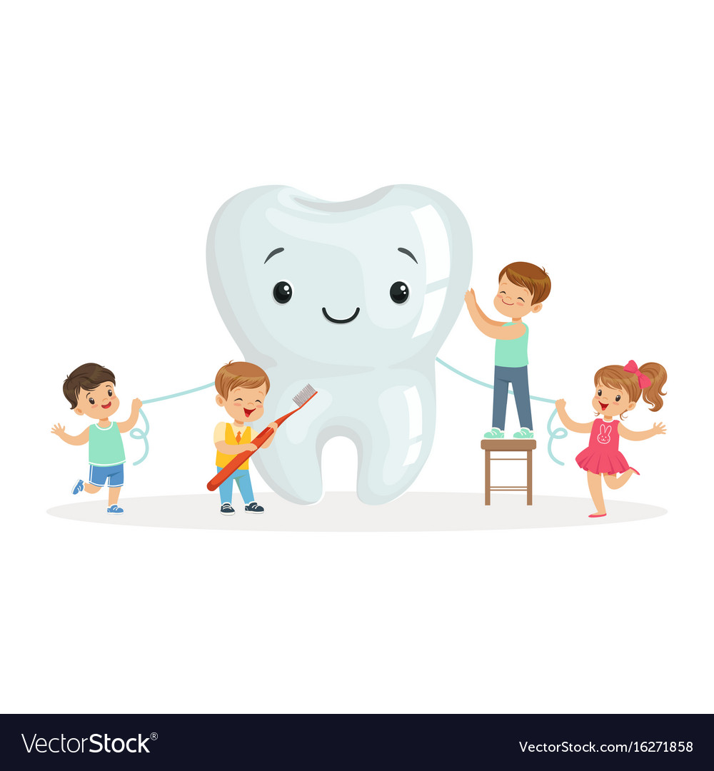 Happy kids cleaning a big tooth with a brush and vector image