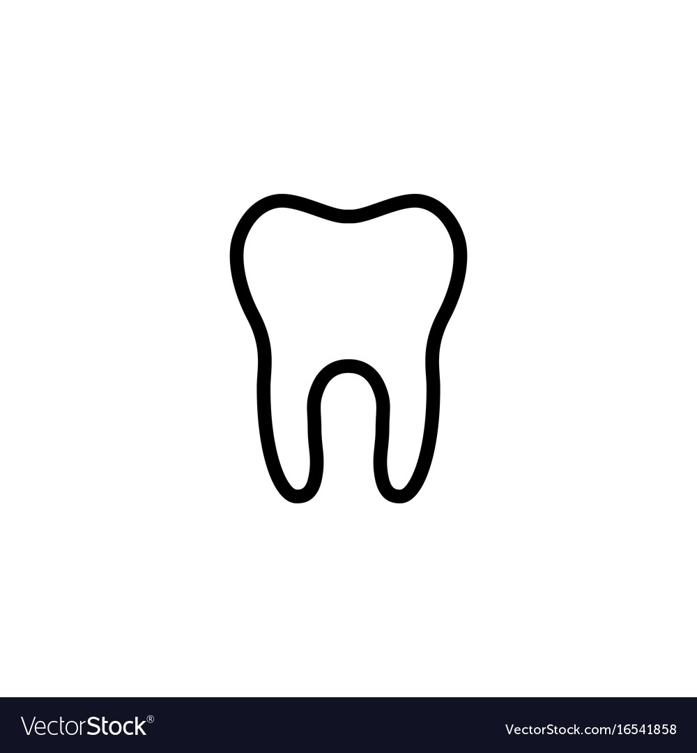 Line tooth icon on white background