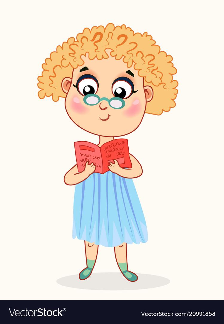 Little cartoon girl reading a book