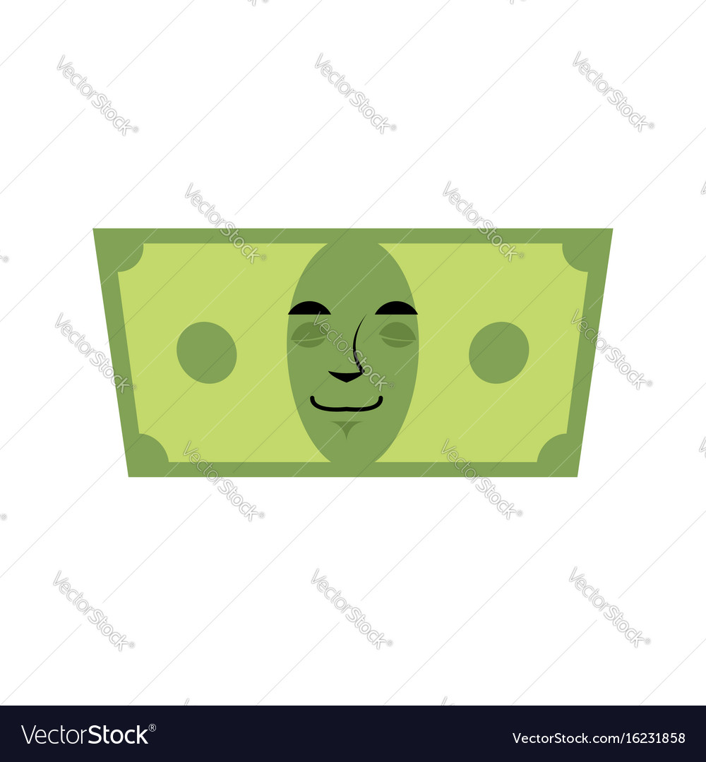 Money sleeps emotion cash emoji tired dollar vector image