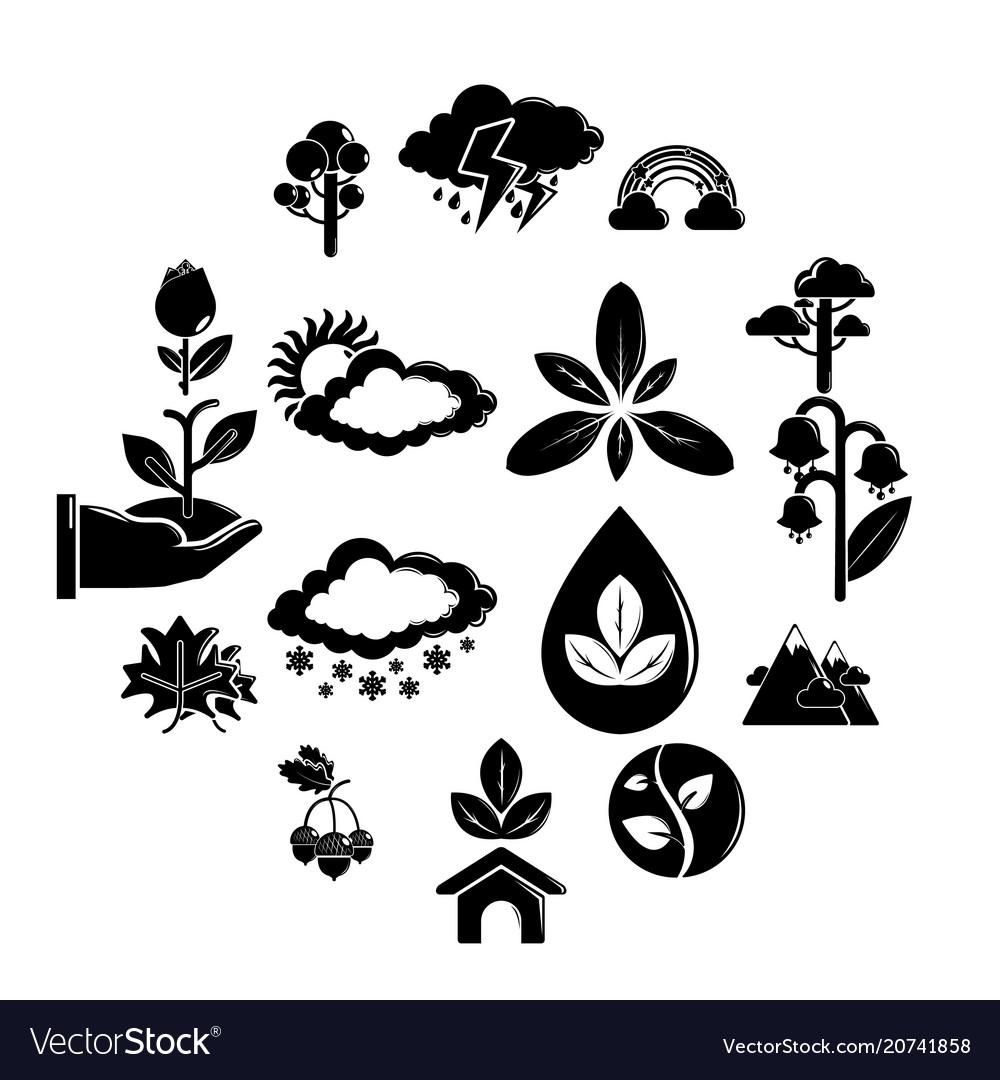 Nature icons set symbols simple style