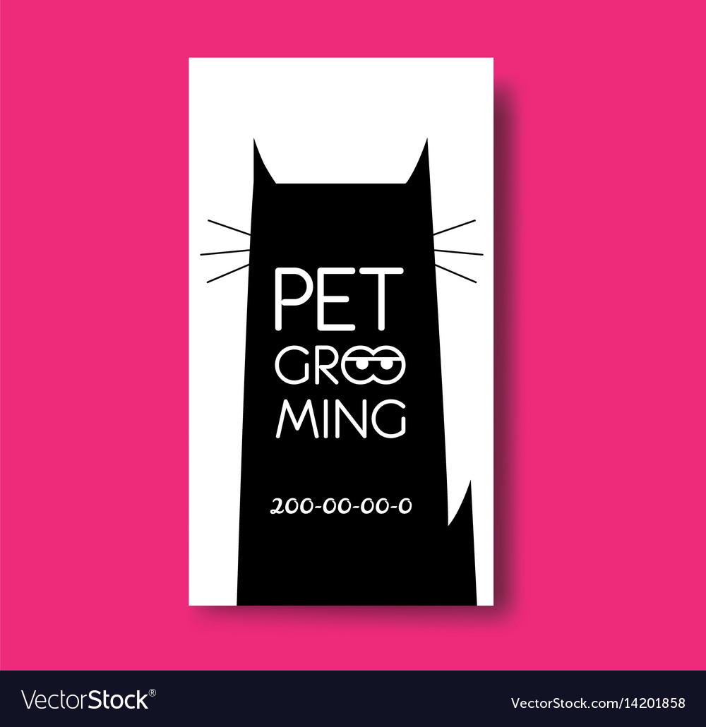 pet grooming business card design template with vector image - Dog Grooming Business Cards
