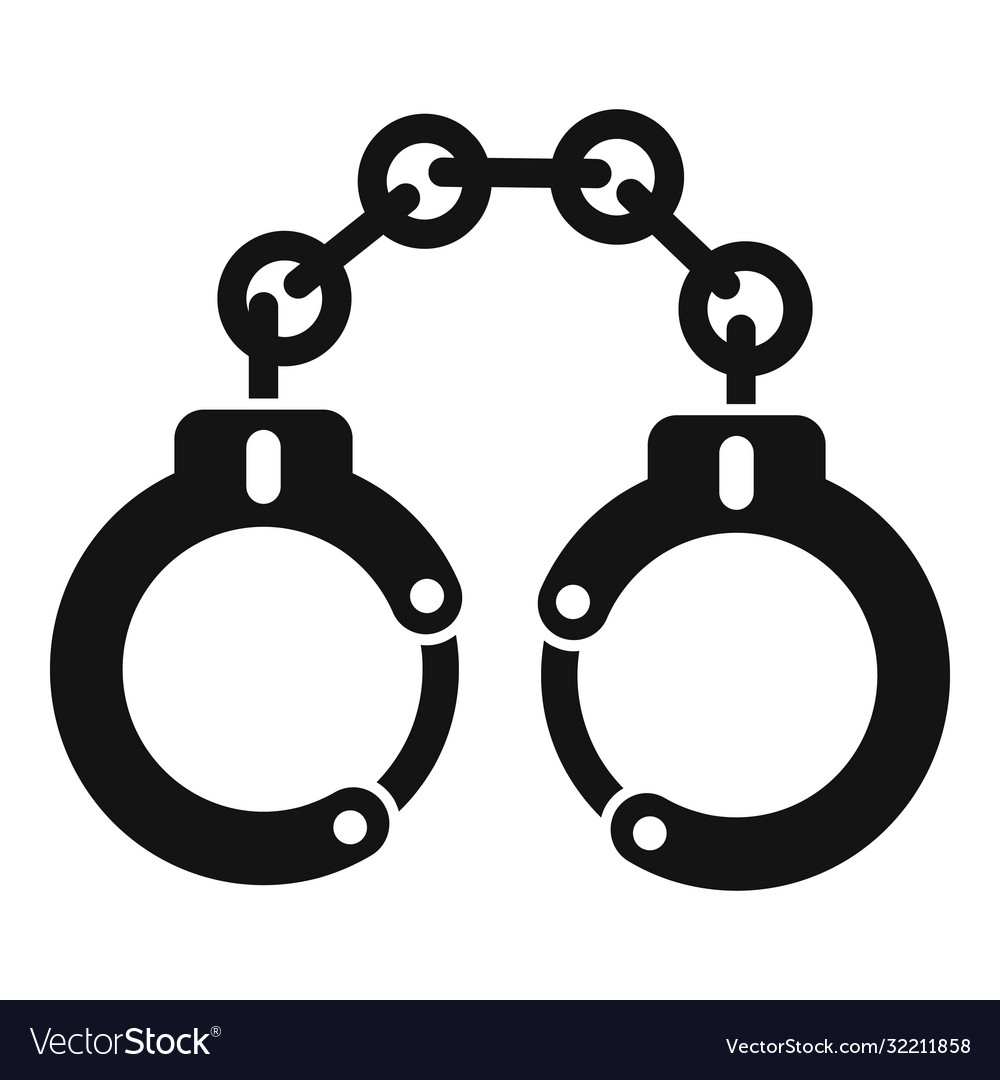 Police handcuffs icon simple style