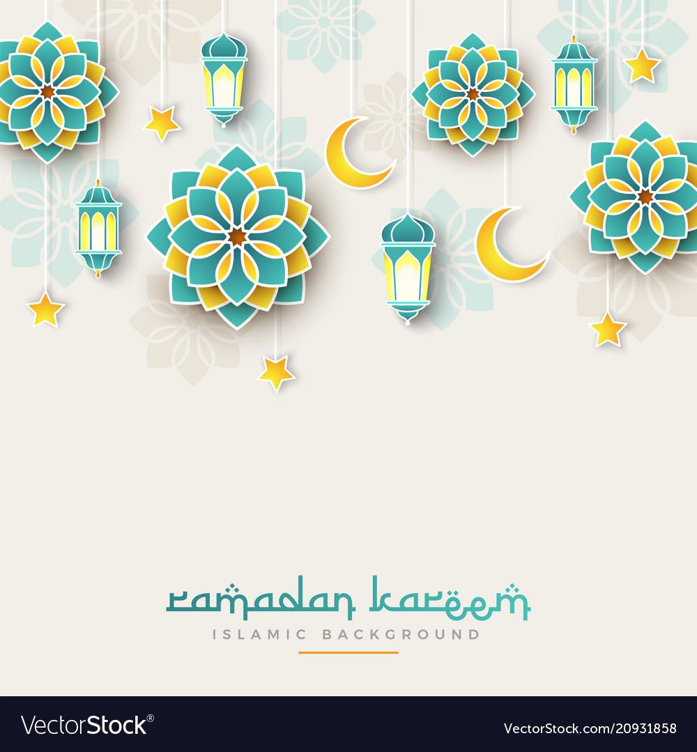 Ramadan kareem concept banner with islamic