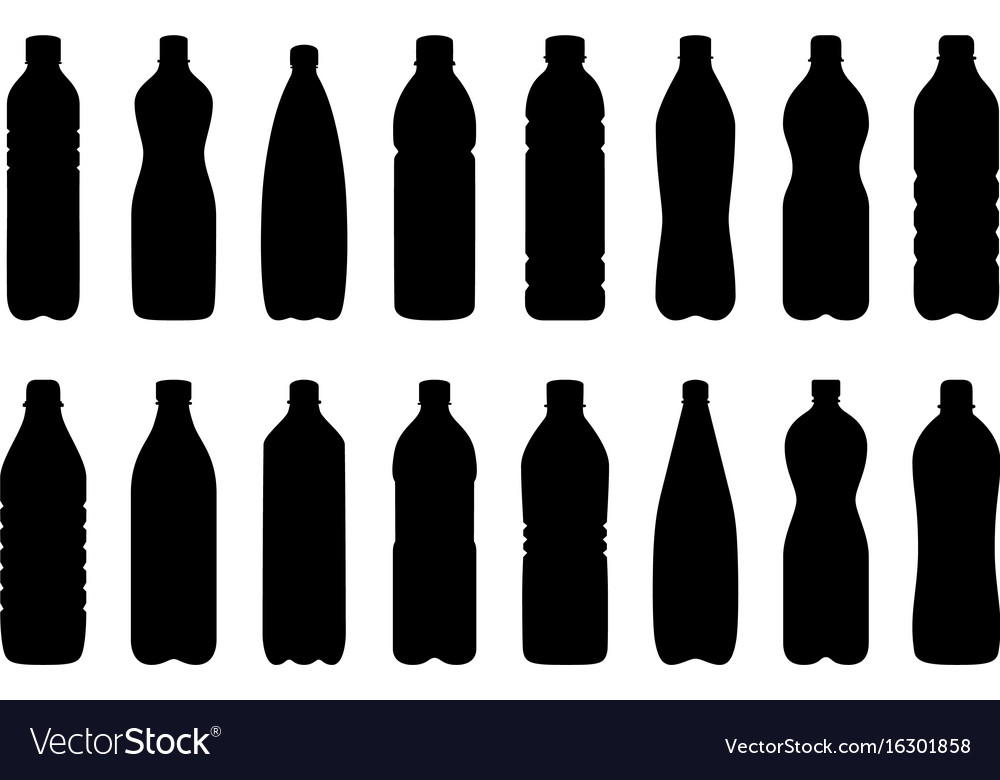 Set of silhouettes of water bottles