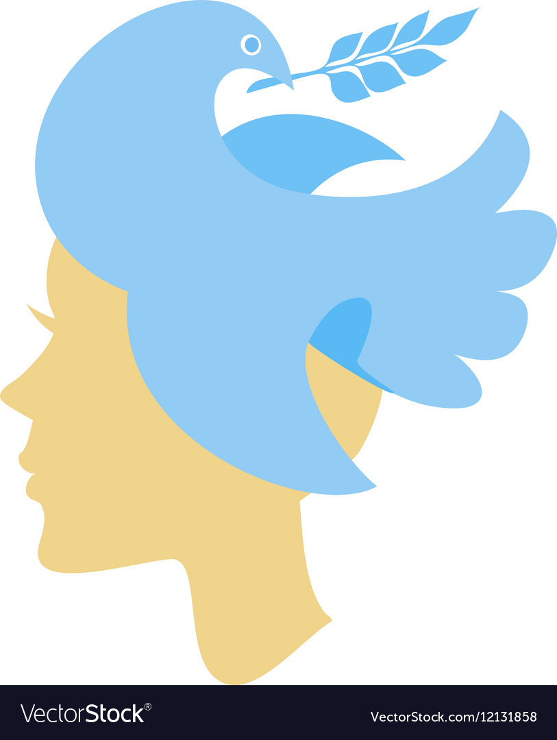 Silhouette of female head with dove
