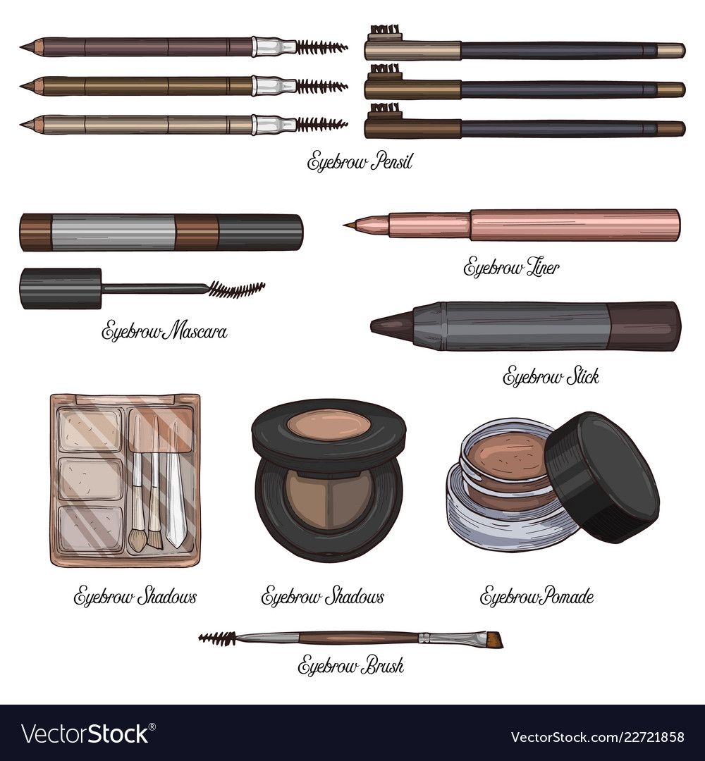 Sketch Set Of Makeup Products Royalty Free Vector Image