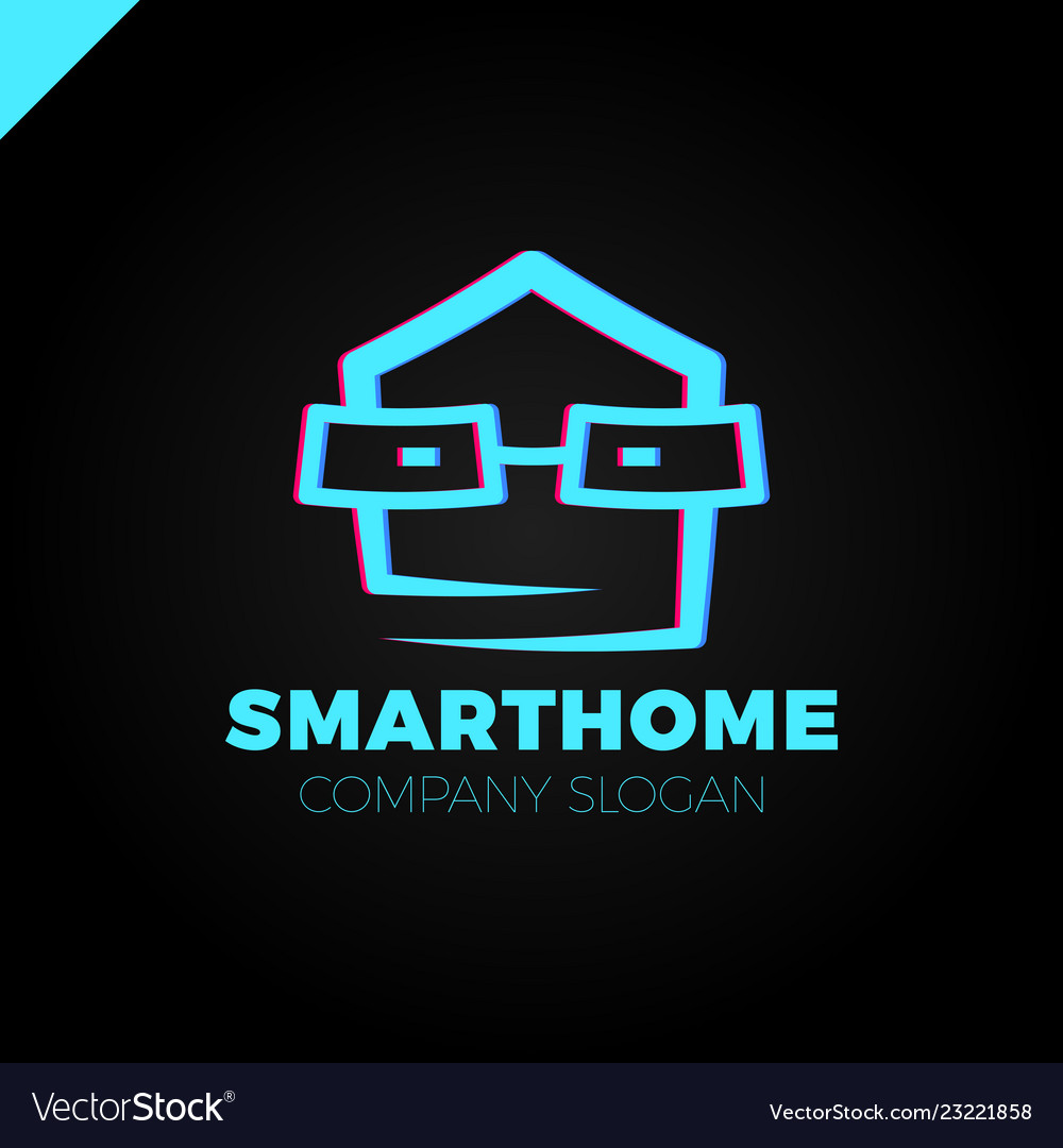 Smart home logo design template head with glass