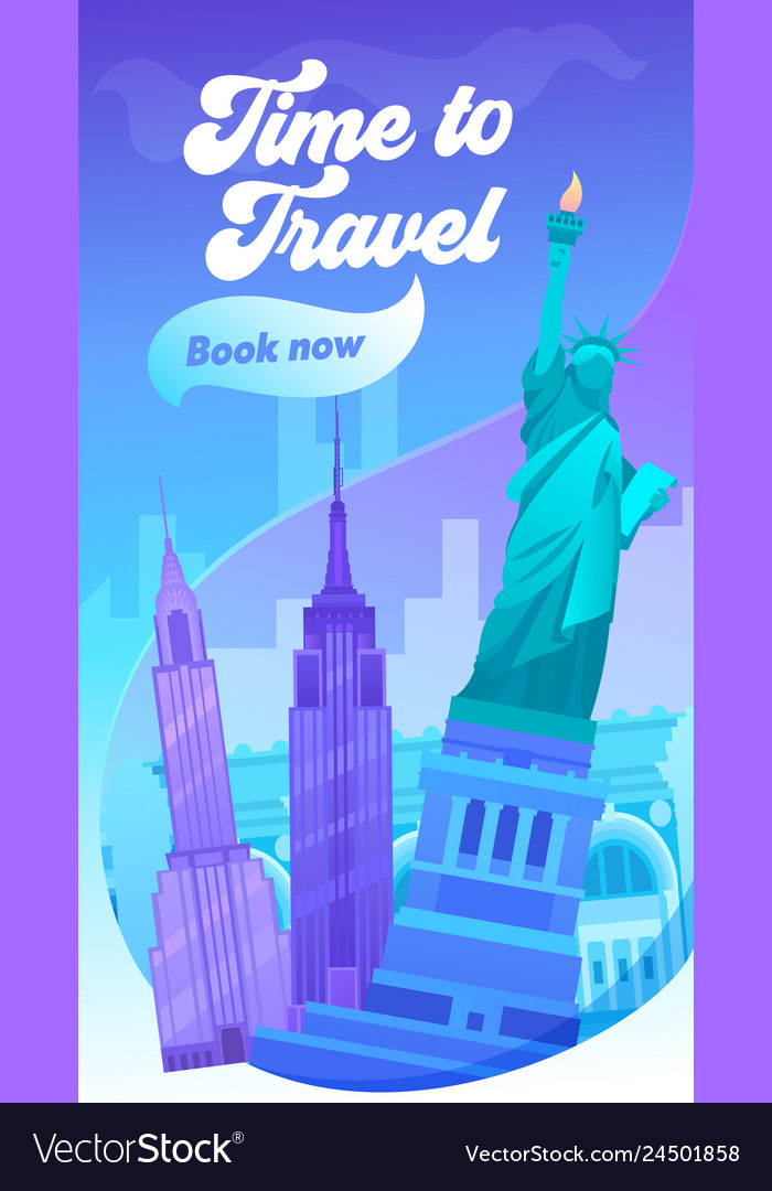Time to travel typography banner visit new york