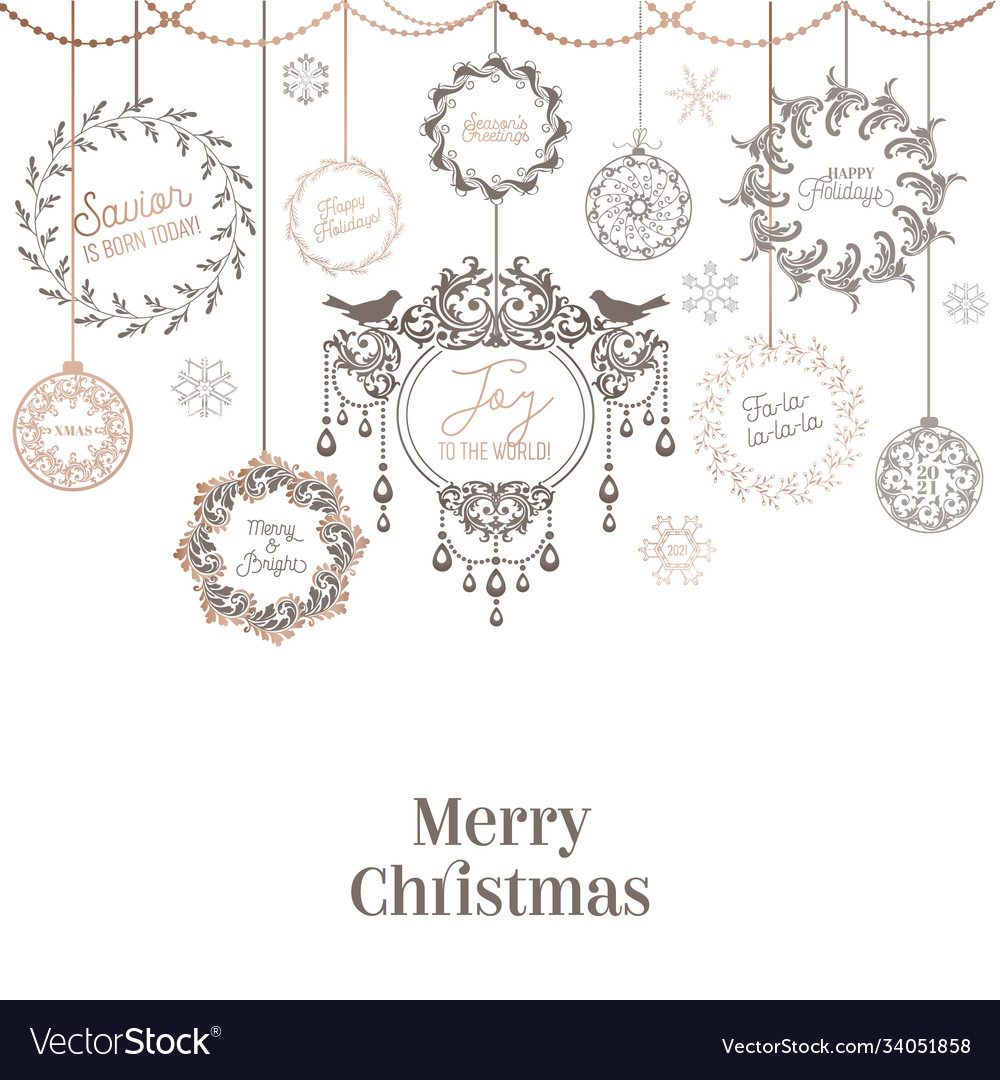 Vintage christmas wreath design winter holiday