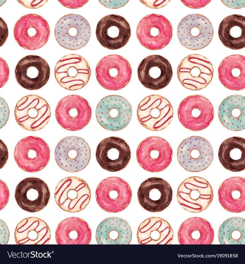 Watercolor tasty donuts pattern
