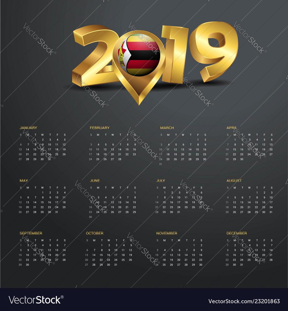 2019 Calendar Template Zimbabwe Country Map Vector Image