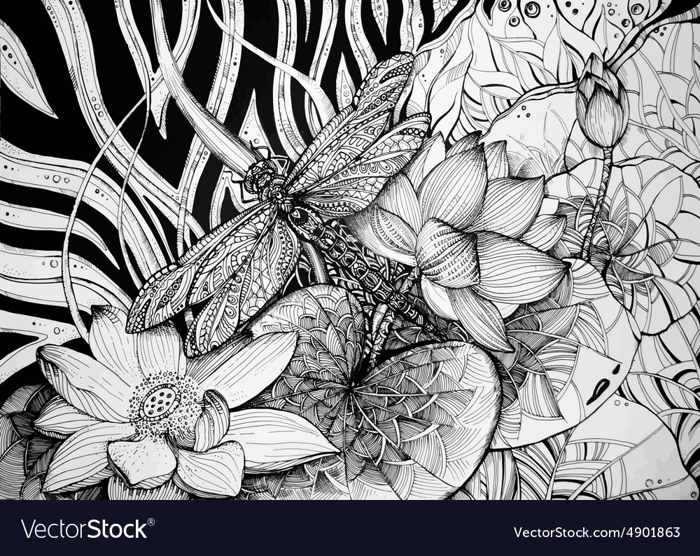 Beautiful graphic background with lotuses and
