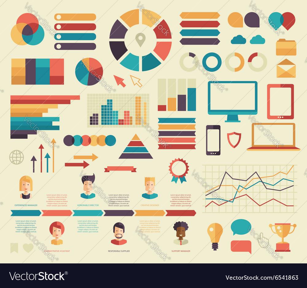Big set business flat design infographics