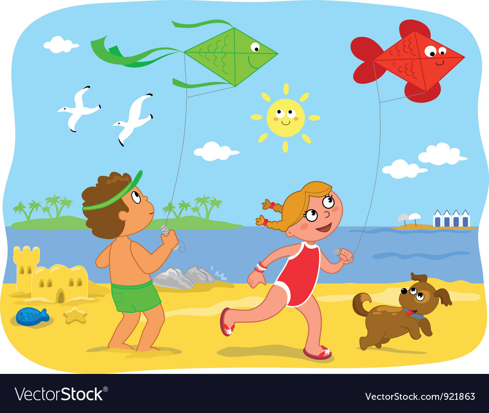 Boy and girl playing with kites at the beach