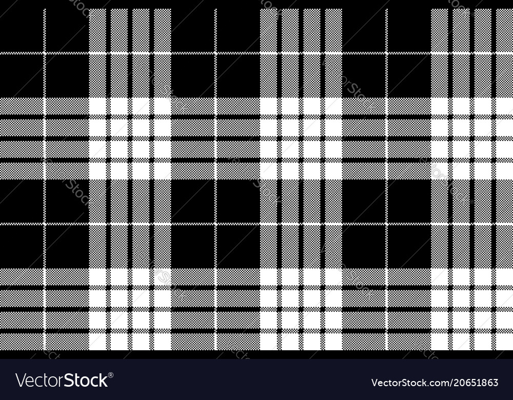Cameron black white tartan plaid pixel seamless