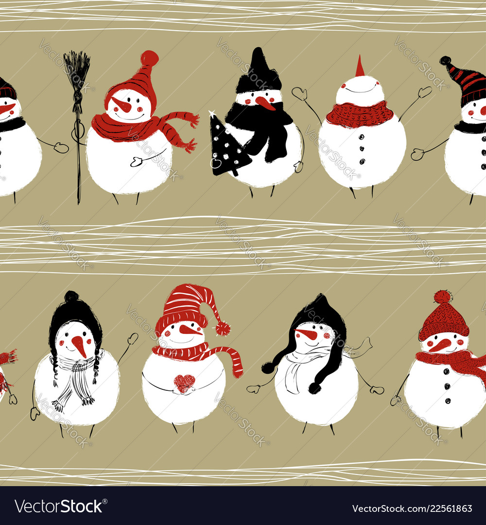 Christmas seamless pattern of snowmans