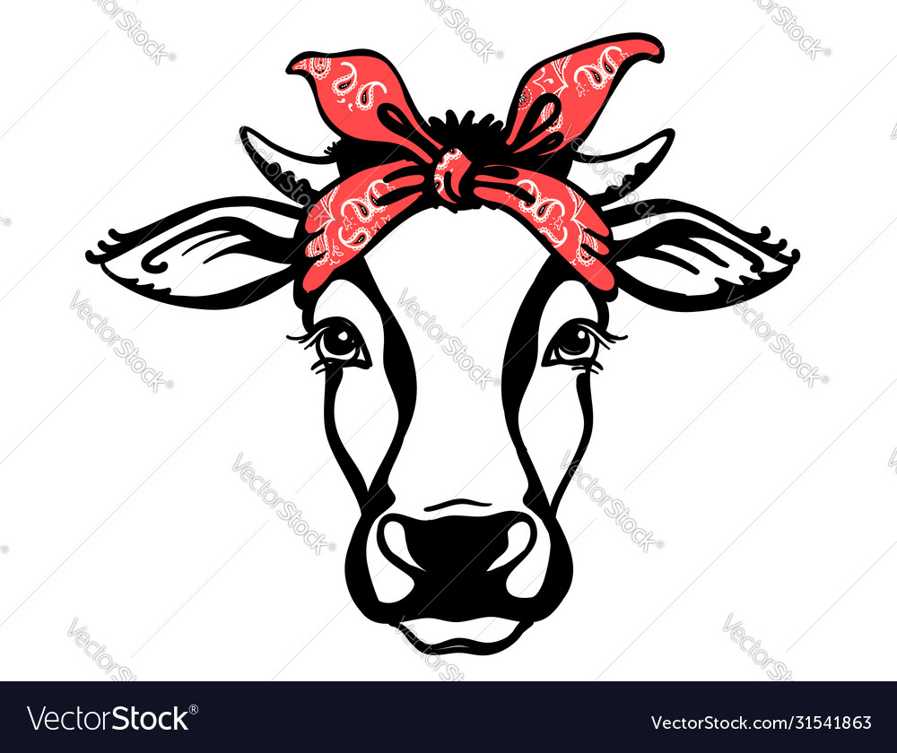 Cow head with red bandana black graphic