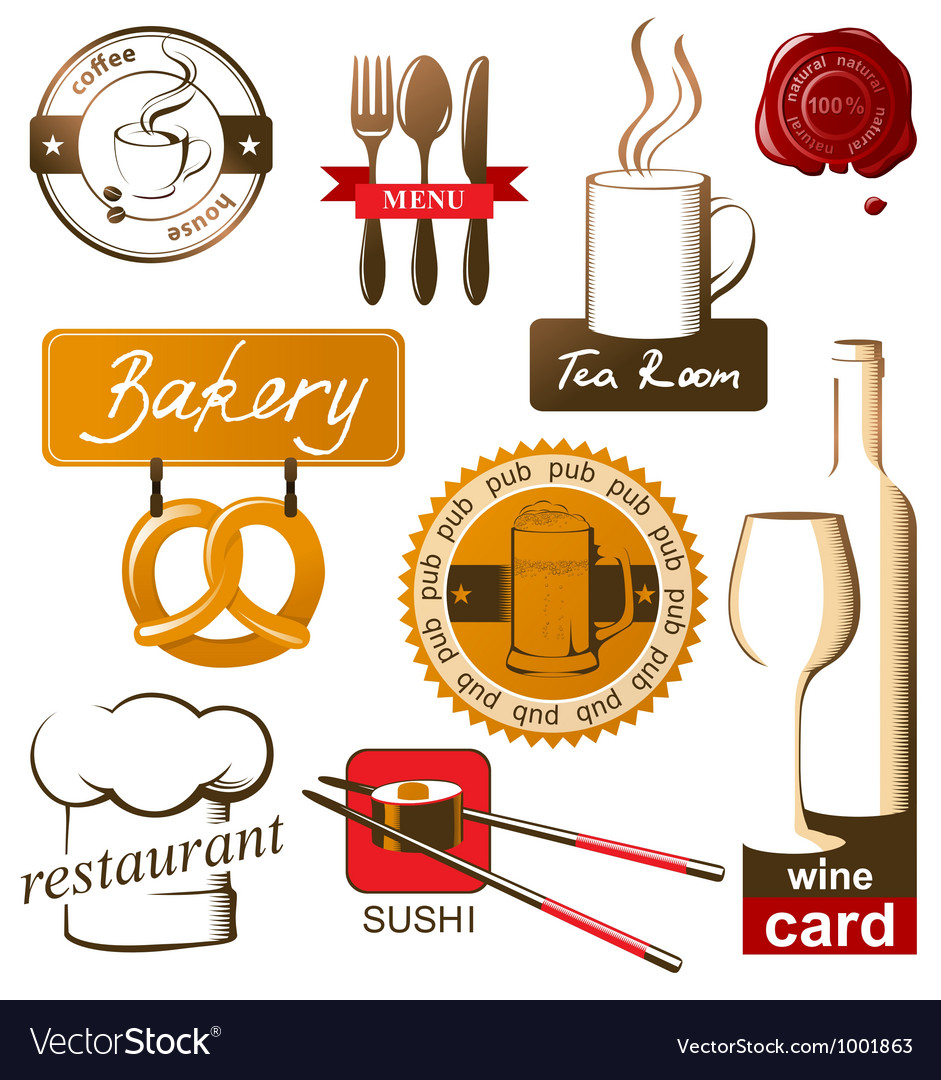 Food and drink logos vector image