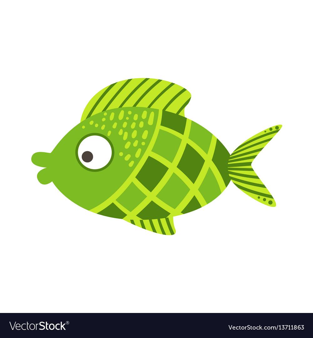 Green checkered fantastic colorful aquarium fish Vector Image