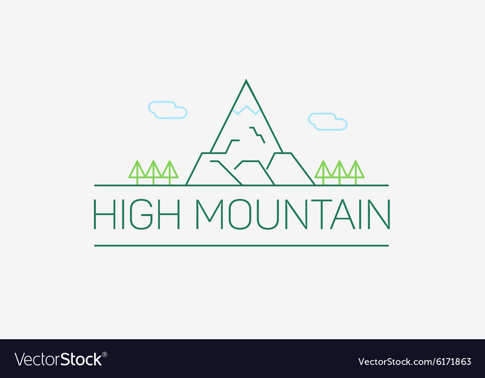 High mountain logo and emblem in outline