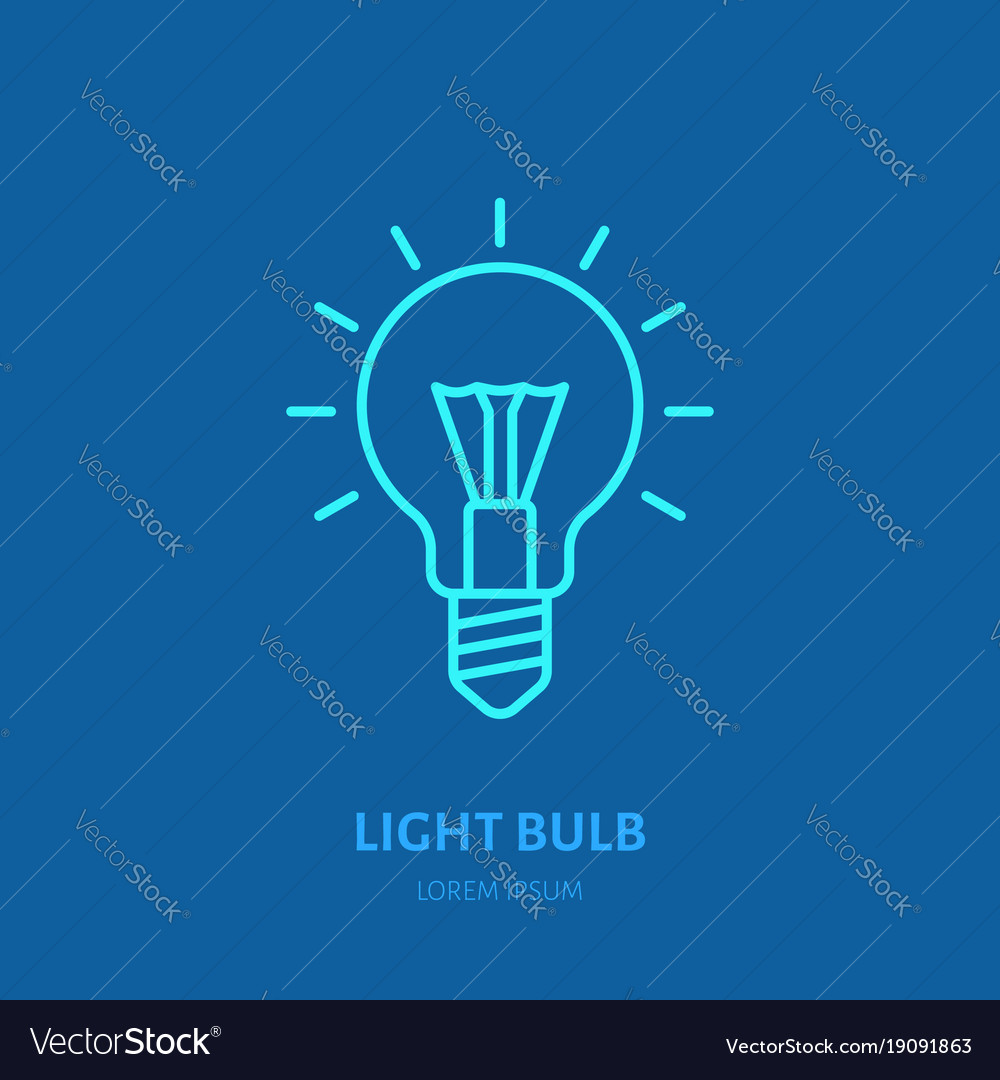 Light bulb flat line icon sign of