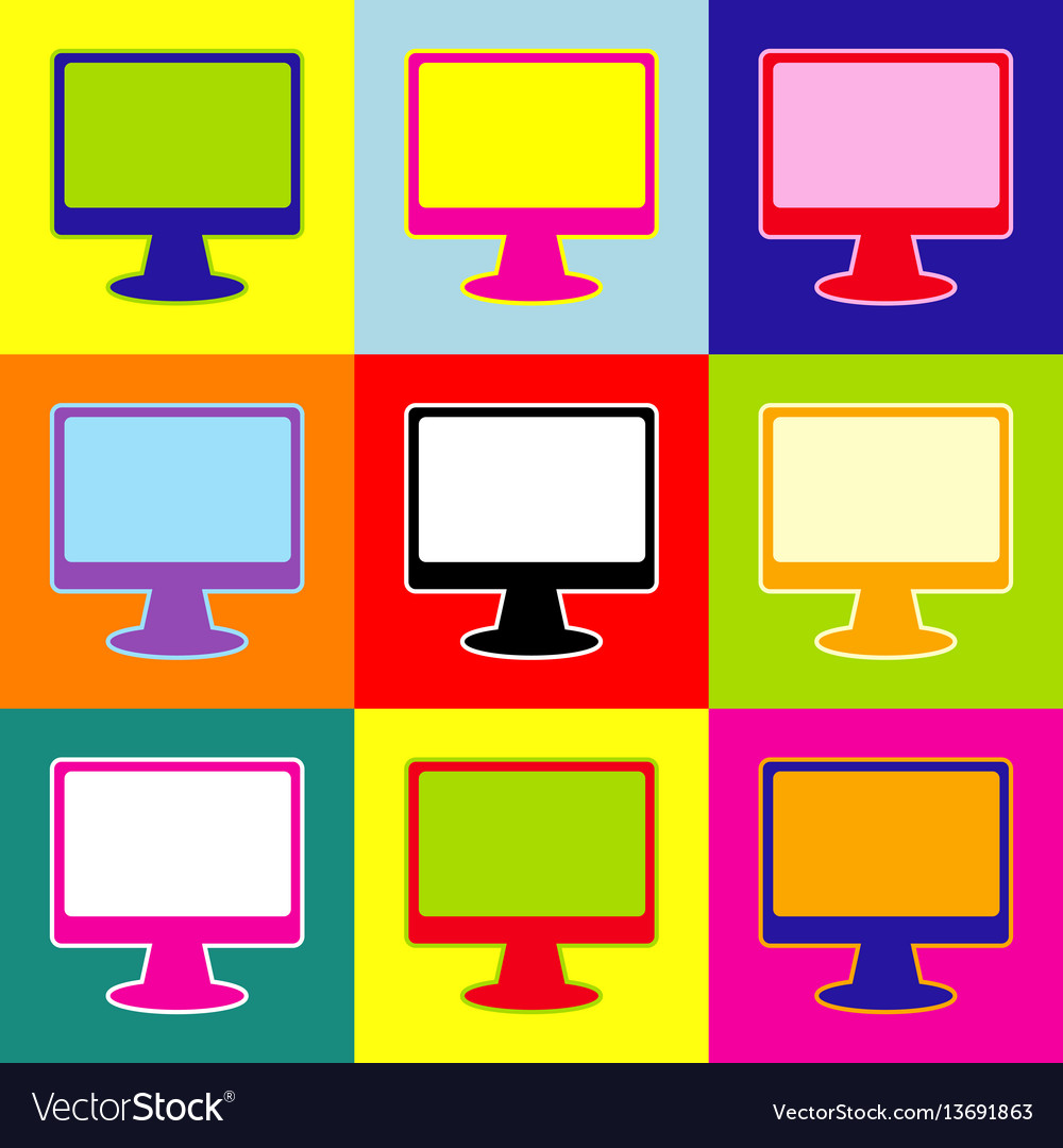Monitor with brush sign pop-art style vector image
