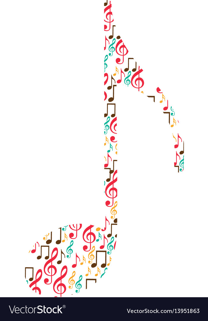 Quaver note color silhouette formed by musical