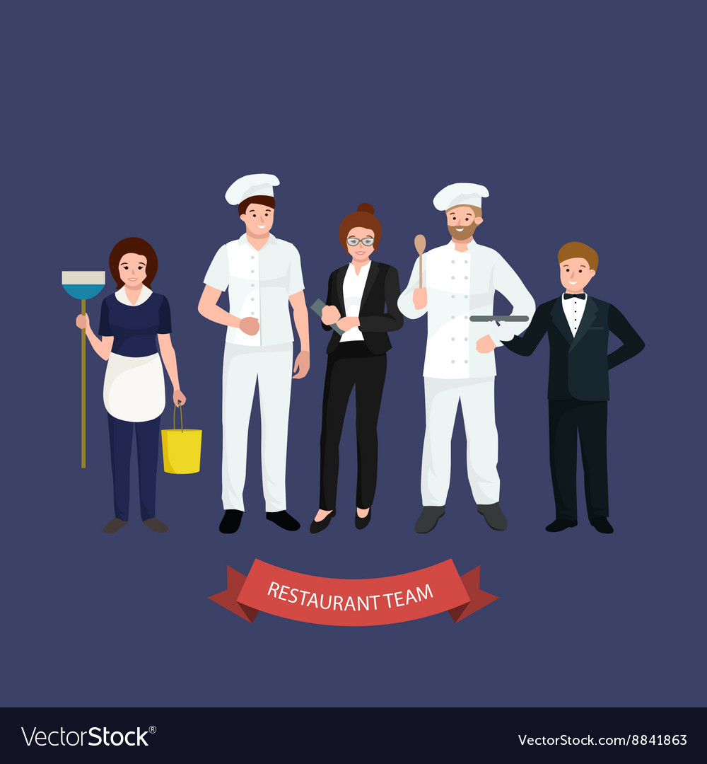 Restaurant team man cooking chef manager waiter vector image