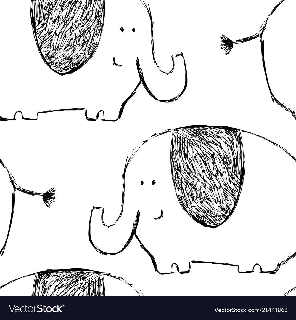 Seamless childish pattern with cute elephants