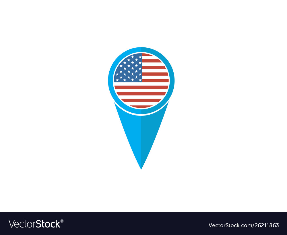 Usa Pin Flag For Logo Design Royalty Free Vector Image