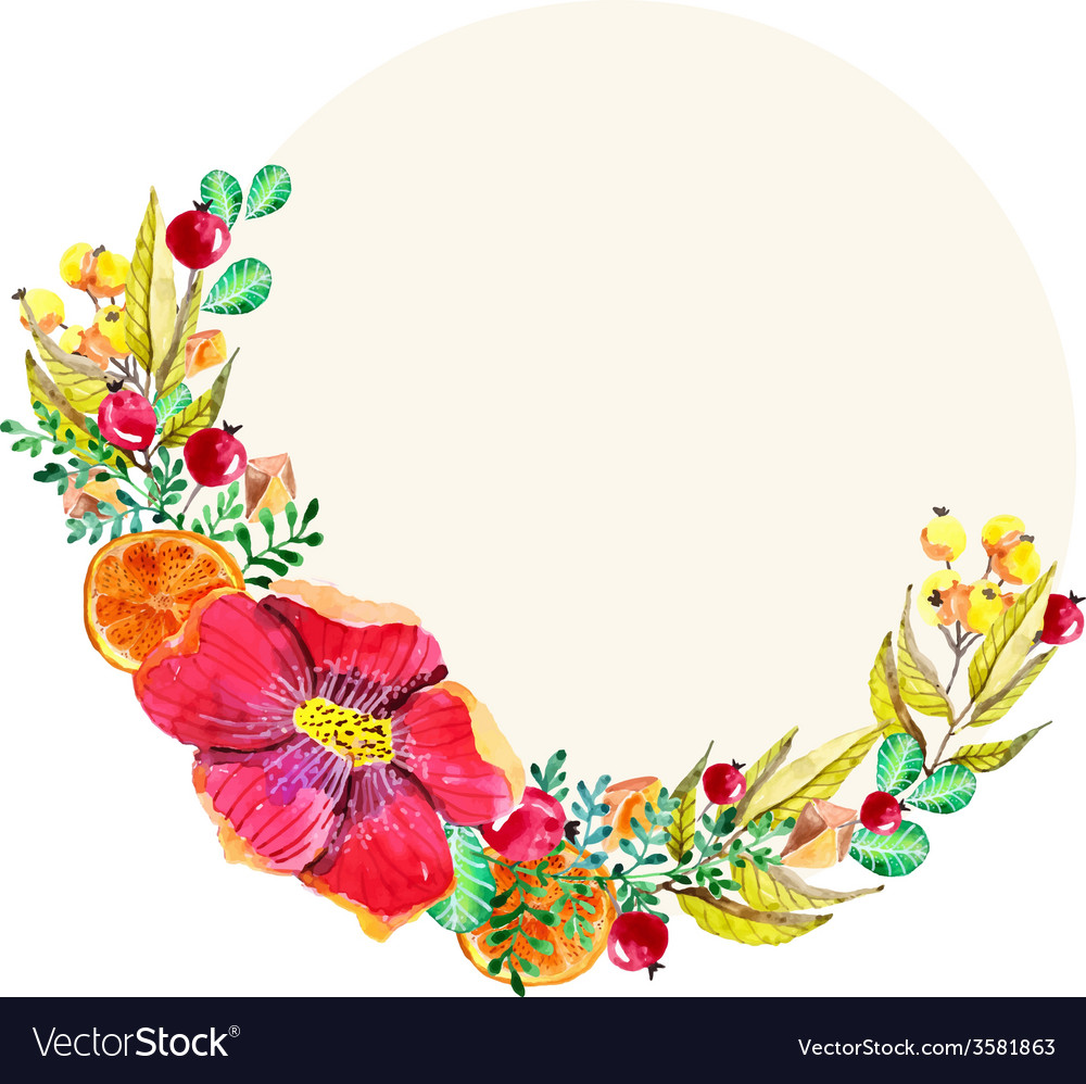 Watercolor floral frame Royalty Free Vector Image