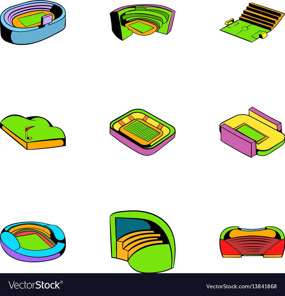 Arena icons set cartoon style