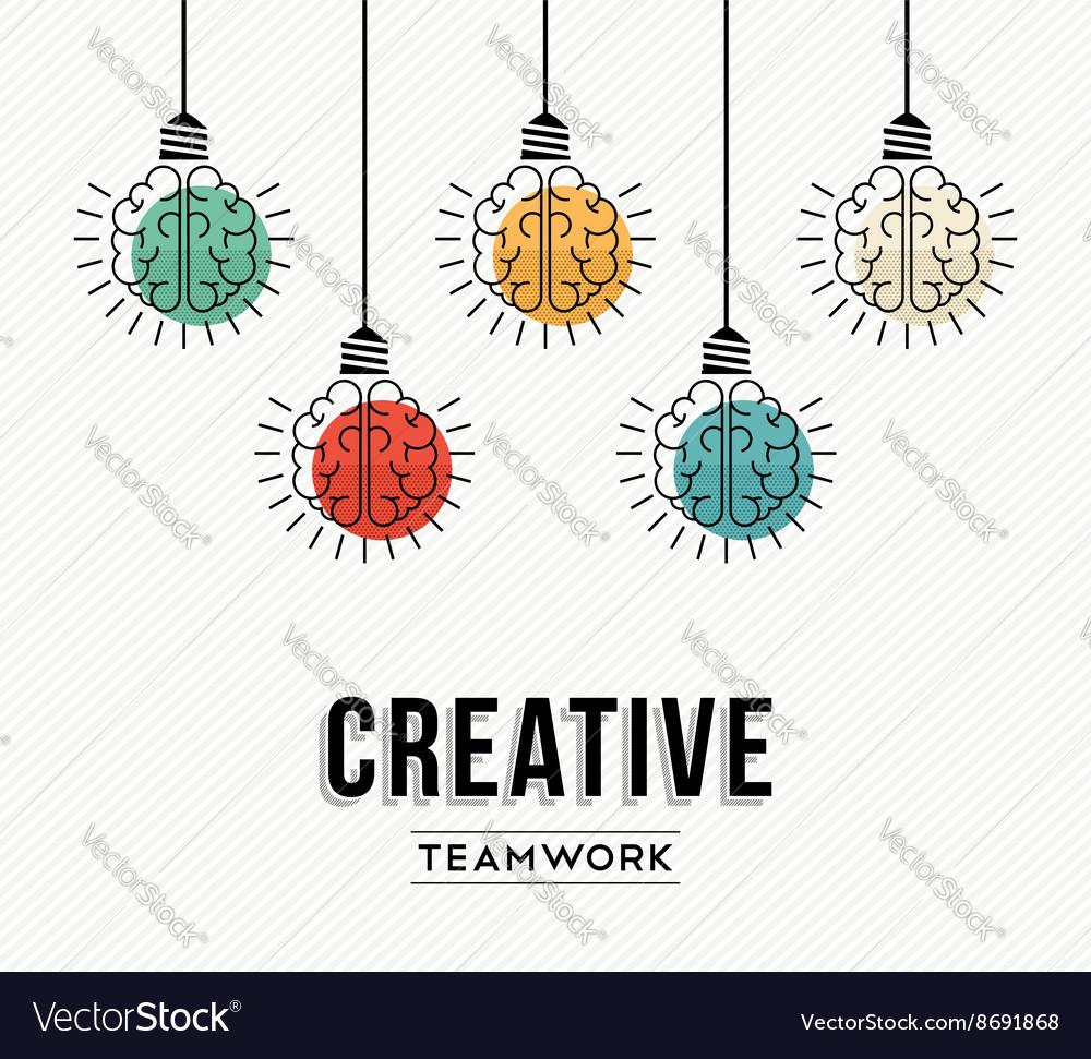 Creative teamwork concept design with human brains vector image