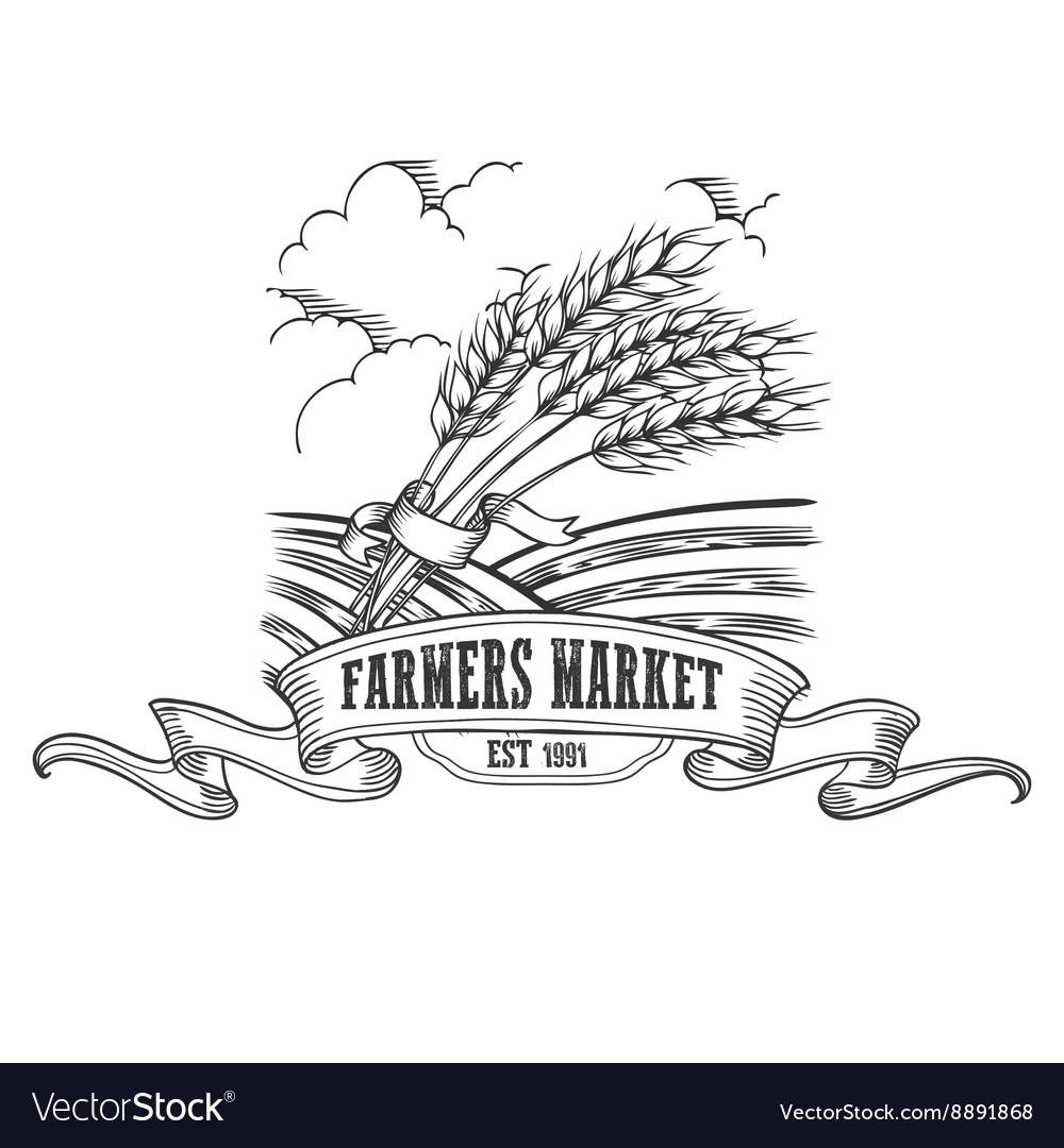 Farmers market badge Monochrome vintage engraving