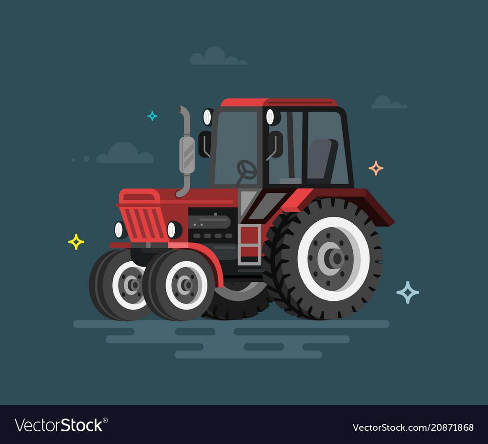 Flat tractor vector image