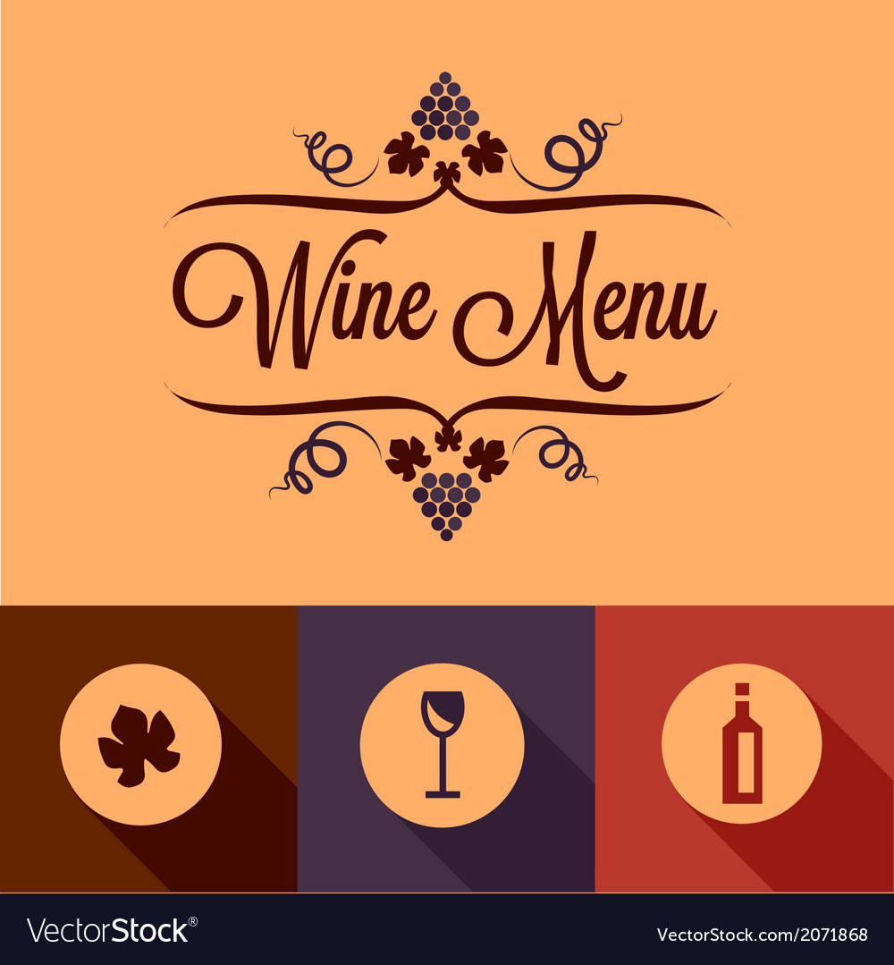 Flat wine menu design elements