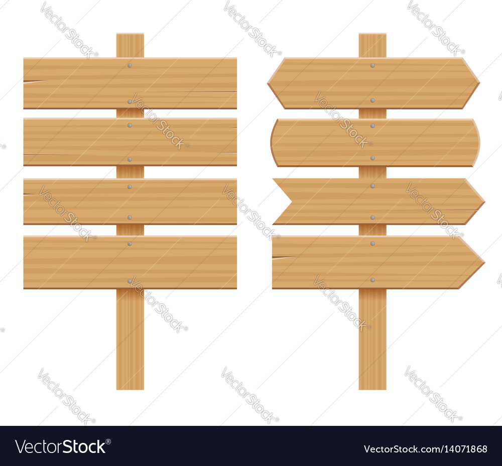 Isometric set of a wooden signboards empty