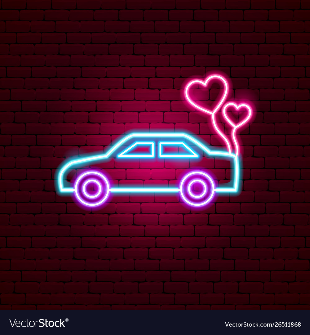 Just married car neon sign