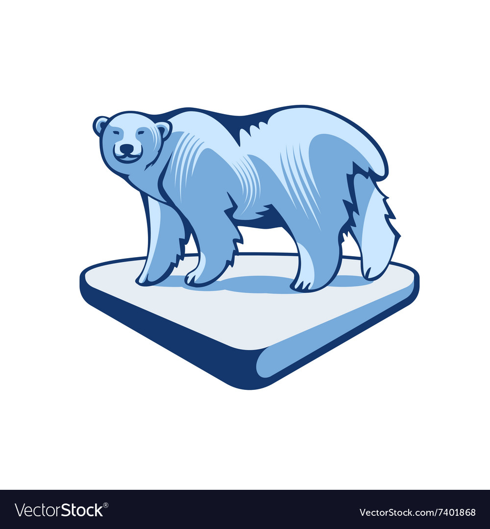 Polar Bear On The Block Of Ice vector image