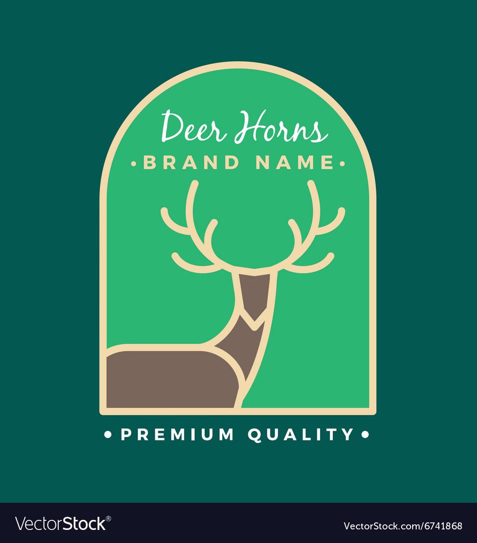 Reindeer Head and Horns Logo Template